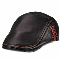 aussie hats - 2016 new luxury men s leather cap genuine Aussie side laceing first layer of leather casual beret cap hat