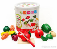 Wholesale Wooden barrels fruits and vegetables honestly see simulation Hands puzzle toy play house Fruit earnest happy