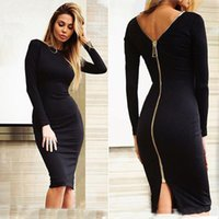 Wholesale Summer Autumn Bodycon Bandage Dress Sexy Midi Night Club Party Dress Women Slim Fit Long Sleeve Back Zip Up Sheath Dresses PDF0426