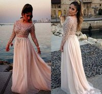 Wholesale Elegant Formal Dresses Evening Wear Elie Saab Sparking Crystal Beading Sheer Modest With Long Sleeve Prom Gowns Party dress