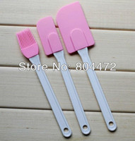 Wholesale Set Silicone Kitchen Utensils Set Plastic Handles Set of Spatula Brush