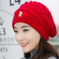 beret s - The New Women s Hat Autumn and Winter knitted Hat Fashion Berets warm rabbit hair