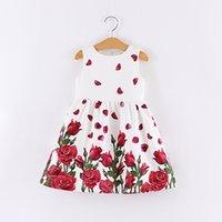 Wholesale Baby girl sleeveless rose floral dress kids flower Jacquard dress