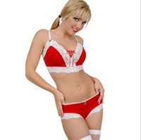 Wholesale Sexy Christmas Velvet Underwear Set Women Lady Lace Babydoll Lingerie Outfits Red Bra Top Underwear Pants Santa Claus Nightwear EH002