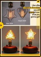 Wholesale 230V E27 W Edison Incandescent Filament Light Retro Vintage Lamp Star Heart Shape Bulb Warm White LED Edison Lights