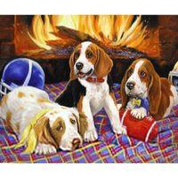 antique dog art - HWB Three dogs Patterns Diamond Painting Needlework Diamond d Handmade Diy Diamond Mosaic Picture Gift x60cm