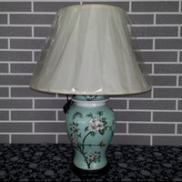 Wholesale Top Quality Antique Chinese Hand painted ceramic Reading Table Lamp Flower and birds Pattern Porcelain Bedside lamp Home decoration