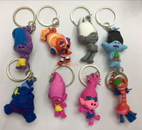 Wholesale New Sale Movie Trolls Mix Color design Rubber Keychain Anime Metal Key Chains Pendant Kids Christmas Gift