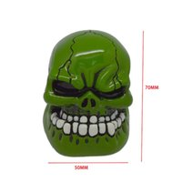 Wholesale Hot Universal Manual Gear Stick Shift Shifter Lever Knob Wicked Carved Green Skull pomo marches