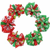Wholesale Fashion Girls Baby Infant Christmas Bowknob Hairpins Toddler Kid Children Hair Bow Clips Xmas Headwear Headdress