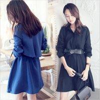 korean maternity dress - Bow Maternity autumn new women s temperament Korean Fan coat cotton dress