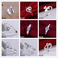 Wholesale women s gemstone sterling silver ring pieces a mixed style EMR9 brand new burst models fashion wedding silver ring