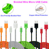 Wholesale 1M Braided Wire Micro USB Cable ft Sync Nylon Woven Charger Cords For Samsung Galaxy S7 S4 S6 for Blackberry for SONY for one puls