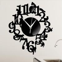 Wholesale Decorative wall clock creative living room wall clock black cat cartoon wall clock on the shelf