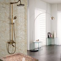 bath room taps - 2016 Newly Bathroom Shower Room quot Rain Bath Shower Faucet Taps Wall Mounted Two Handles Antique Brass Hot and Cold Taps