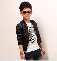 Wholesale Boys long sleeved jacket leather motorcycle jacket boy thin coat long sleeved cardigan jacket children jacket boy