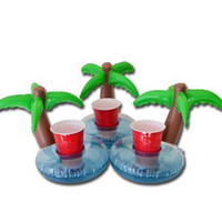 Wholesale Inflatable Coconut Tree Coasters Drink Holder Lovely Coconut Tree Swim Float Pool Floating For oz Sodas