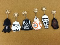 Wholesale 6 Styles Newest Star Wars Toys double sided Keychain keyring Figures Toys School Bags Handbag Hang Christmas Toys Gifts