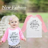 Wholesale 1 retail Cheap price Kids New Cotton fashion letter printed Girls Long sleeve T shirt for years old