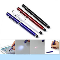 Wholesale 4in1 Capacitive Stylus Pen Laser Pointer Flashlight Samsung IPAD Ballpoint Pen Laser Capacitance Iphone4s Metal Touch Pen Laser Pointers