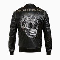 big men motorcycle jackets - 2016 winter qp men s back big skull leather jacket motorcycle jacket coat men s luxury collar leather jacket coat SIZE M XXXL