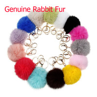 ball compass - Multicolor Bag Charm Genuine Rabbit Fur Ball Key Chains Car Keyring Soft Fluffy Pom Pom Keychains Car Key Rings Bag Pendant