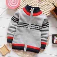 baby woolen sweater design - Children baby spring coat autumn and winter boys famous fashion design model zipper collar sweater knit collar coat boy boy
