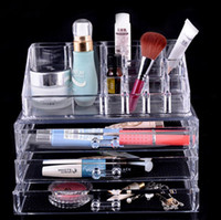 Wholesale Hot Make Up Tools Drawer Crystal Cosmetic Stand Storage Holder Cosmetic Organizer Clear Makeup Storage Case Jewelry Box Three Layers KB394