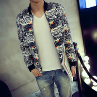 beijing jacket - Beijing Korean Winter Leisure Bomber Jacket Slim Maple Printing Brand Clothing Off White Chelsea Military Windbreaker Homme