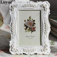 Cheap 2015 Limited Real 6inch White Fashion Vintage Swing Sets Resin Picture Frame Rustic Photo Horizontally Upright Free Shipping