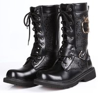 amy shoes - Black Men s Mid Calf Half Boots High Top Leather Shoes Punk Buckles Lace Up PU Leather Casual Martin Combat Amy Boots US Size