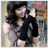 Wholesale New Pure Color Hand Long Mitten Gloves Women Knitted Wrist Arm Fingerless Winter Gloves Unisex Soft Keep Warm
