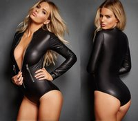 Wholesale Adult Leather Lingerie Sexy Catsuit Costumes For Women PVC Long Sleeves Zipper Croth Front Wet Look Dress Cosplay Costumes