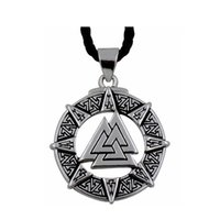 amulet symbols - Valknut Odin s Symbol of Norse Viking Warriors Amulet Men s Pewter Pendant With Black Necklace Jewelry P301