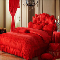 Wholesale Luxury Bedding Supplies Korean style Red Wedding Bedding sets satin jacquard cotton bedding set for full queen king sizes princess bed