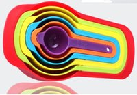 Wholesale FDA approved Multi color rainbow Plastic Measuring spoons set kit eco friendly kitchen tool