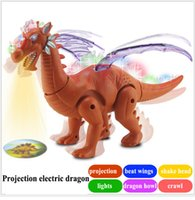 Wholesale hot sell child toys the simulation of electric projection of dinosaurs flapping its wings howl shine model toys dhl free ship