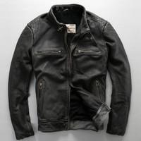 avirex coat - avirex fly pattern genuine leather jacket men harley style black cowskin motorcycle jacket slim biker jacket leather coats male