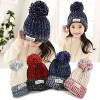 Wholesale Han edition of more popular outdoor monochrome affixed cloth of wool yarn children s hat New autumn winter warm caps