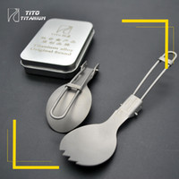 Wholesale Hot Sale Folding Titanium Spoon Tableware Portable Camping Cutlery Convenient Titanium Spork Environmental Only g
