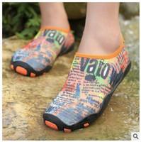 aqua print fabric - DHL Summer NEW Swimming Light Aqua sports Sandals Water Shoes Barefoot Aerobic Vacance Multi color QuickDrying Slip On Skin Soft beach shoes