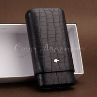 beds leather - COHIBA Gadgets Brand High end Portable Black Crocodile Leather Cigar Case Outdoor Travel Humidor