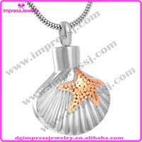 ash shell - IJD8591Cheap Fashion L stainless steel Starfish and Sea Shell pets cremation jewelry pendant Urn for ashes necklace