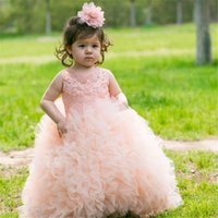 Wholesale Vestidos Primera Comunion Toddler Glitz Pageant Dresses Lovely Flower Girl Dress Ball Gown