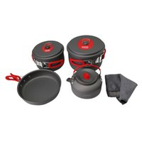 Wholesale Cw Cooking Pot - ALOCS CW-S03 Portable Ultralight Aluminum Outdoor Camping Hiking Cookware Cooking Picnic Pan Pot Teapot Dishcloth Set 3-4 People