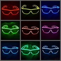 Wholesale Shutter Style Black EL Glow party glasses light up flash LED glasses glowing classic toys decorative party mask Free DHL