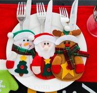 animal pocket knife - Christmas Cutlery Set Snowman Elk Dinnerware Holders Santa Knife Fork Pockets Party Christmas Decorations Dinnner Table Decorations D56
