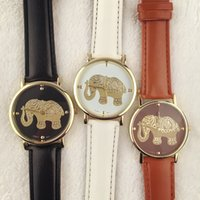 batteries elephant - 2016 unisex men women fashion elephant printing leather watches casual lovers dress quartz wristwatch simple design watch