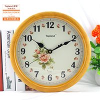 Wholesale Natural wood color modern quartz clock wall clock home decoration clock factory price flower pattern dial