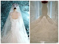 Cheap Elegant 2016 New Real Image Michael Cinco Mermaid Sexy Backless Wedding Dresses Off Shoulder Appliques Sequins Cathedral Train Bridal Gown